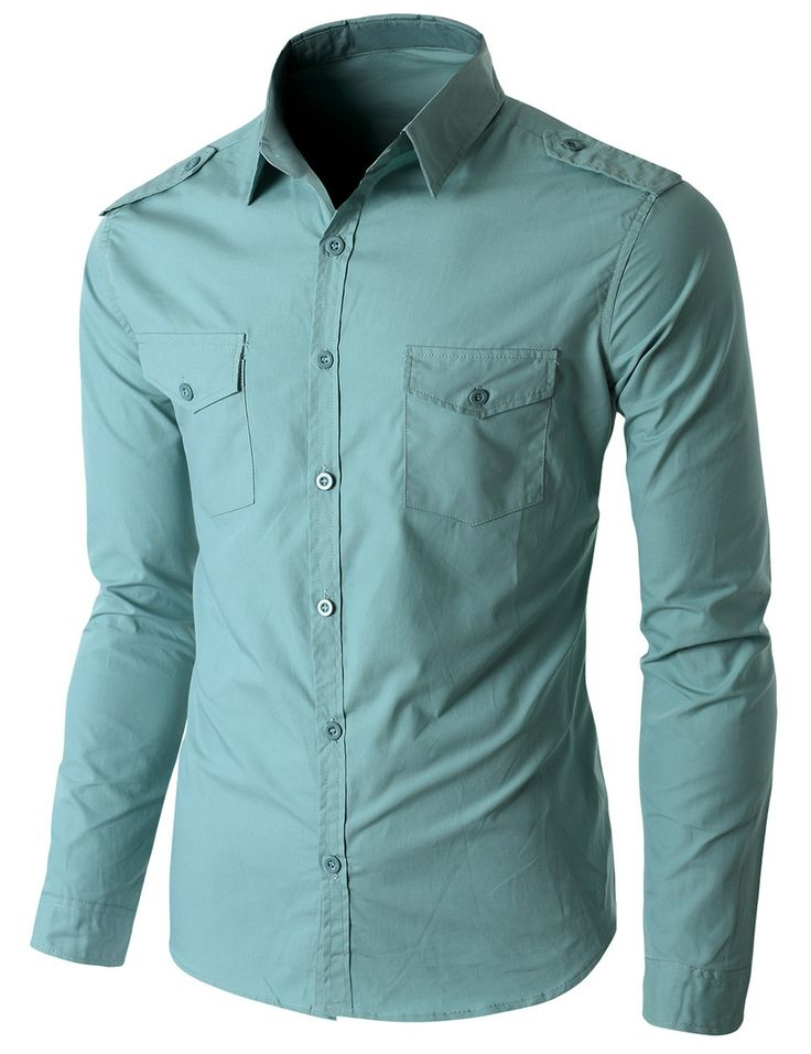Doublju Casual Button Down Shirt with Epalet (CMTSTL017) #doublju
