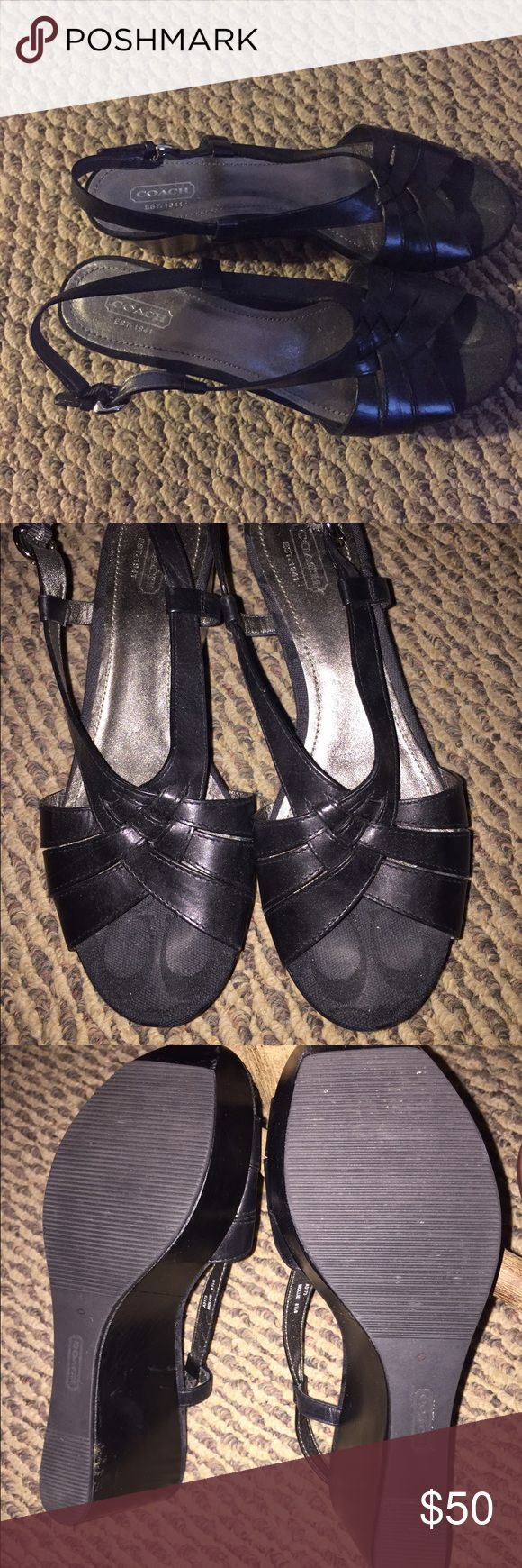 Coach Mollie slingback sandals. Black. Size 8.5. Coach Mollie black sling backs. Size 8.5. Made in China. Leather upper. Coach Shoes Sandals