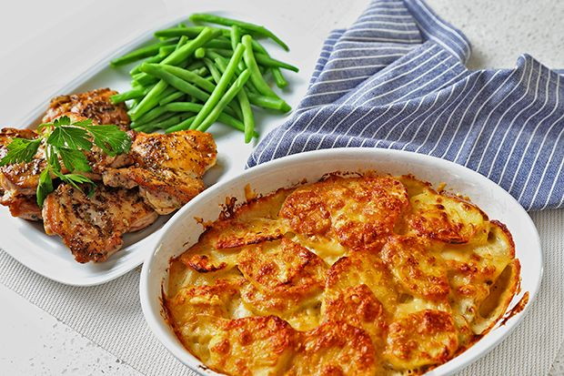 Creamy French Potato Gratin  with Herbed Chicken