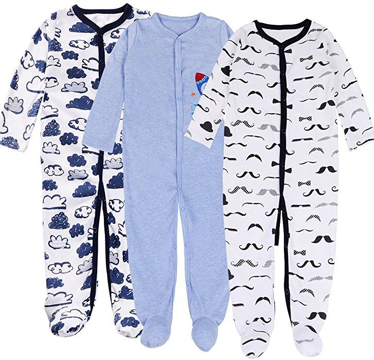 Amazon Com Exemaba Baby Footed Pajamas Boy 3 Packs Newborn Infant Sleeper Cotton Soft Romper Boys Set Tag 12m 10 1 Boys Pajamas Baby Sleepers Foot Pyjamas