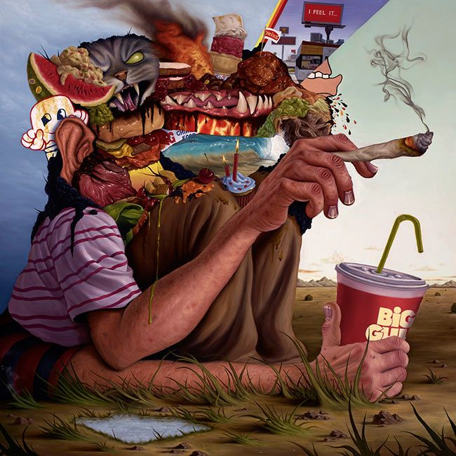 '30 Minute Lunch Break' by Sean Norvet. Find out more about Sean and see more of his grotesque mash-up paintings at wowxwow.com (painting, humour, humor, consumerism, food, grotesque, cartoon, pop culture, portraiture, satire, surreal, surrealism)