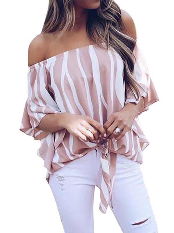 47b40d7c6c Chellysun Off The Shoulder Tops Blouse How to wear off shoulder top outfit  DIY pattern cheker boho summer plus size hacks  top  blouse  shirt  shirts   women ...