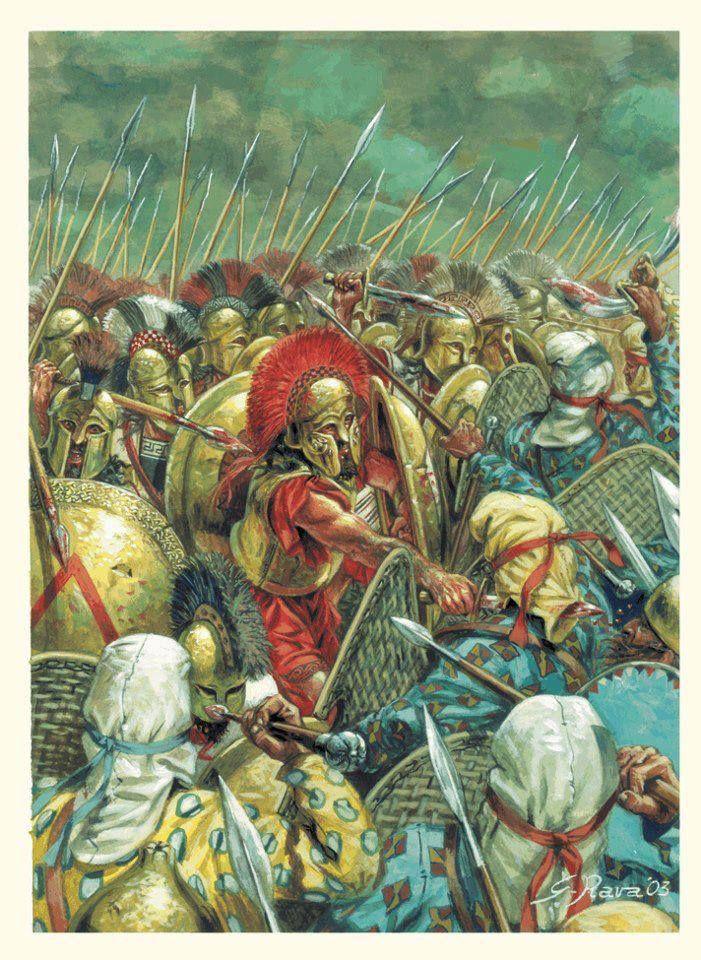 Battle of Thermopylae - art by Giuseppi Rava