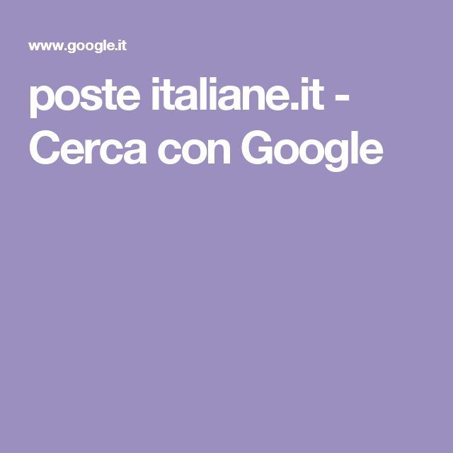 poste italiane.it - Cerca con Google
