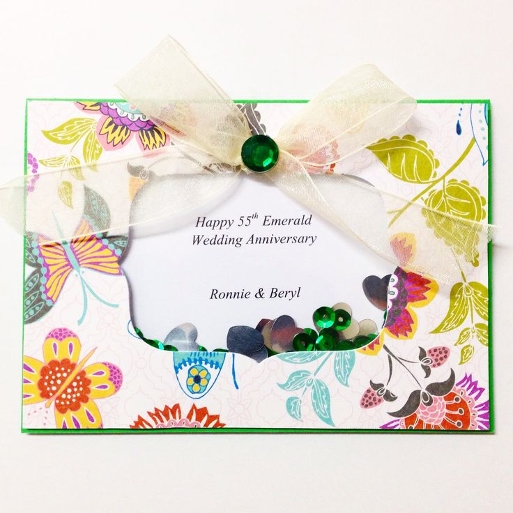 55th Wedding Anniversary is 'emerald'. Therefore there are lots of emerald coloured sequins and gems added to this custom made card. Made by Pammypumpkin using Sizzix Big Shot Machine! #sizzix