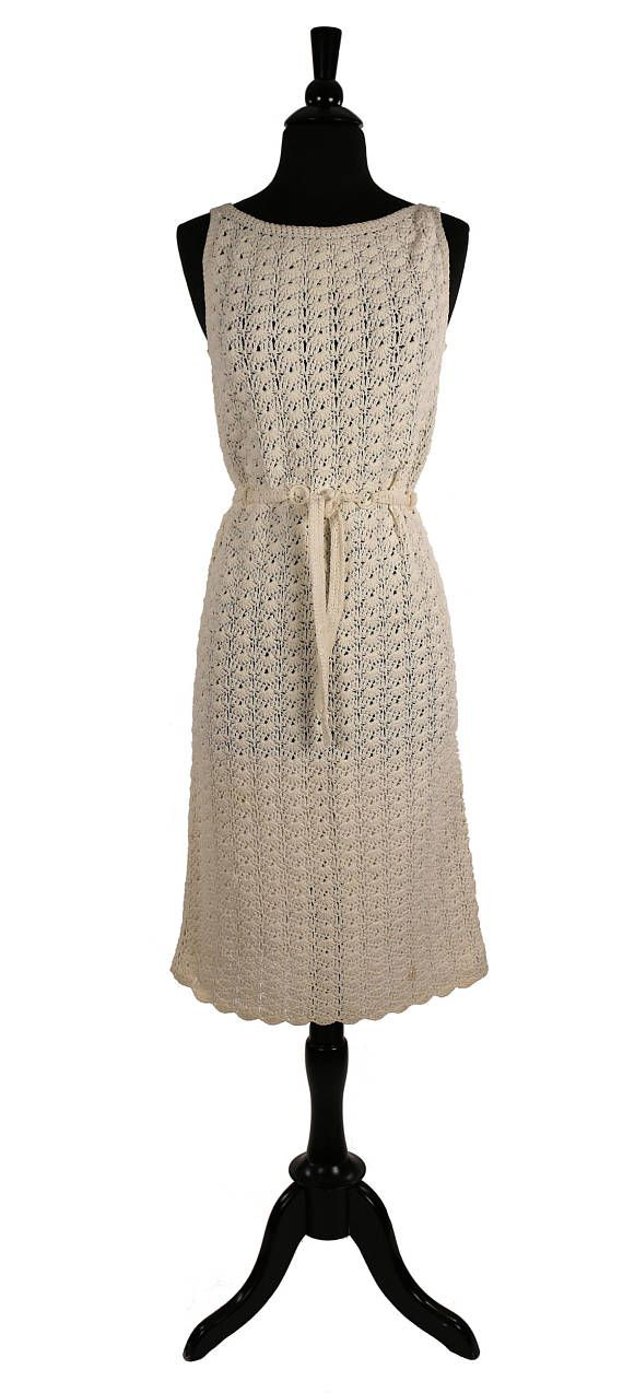 82ac547b 1960's MOD Crochet Sheath Dress / Penny Lane Dolly Girl / Hand Knitted /  Natural Ivory / Unlined Open Weave / Resin Ring Belt | 60's Witchery Wear |  Dresses ...