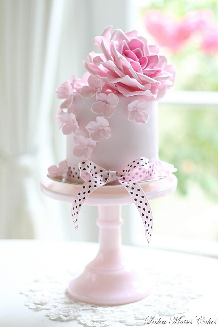 leslea matsis cakes - wedding - wedding cake - pink rose and hydrangea