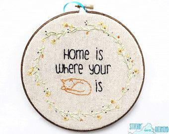 Cat Embroidery, Home is where your cat is, 7in Jennifer Moore