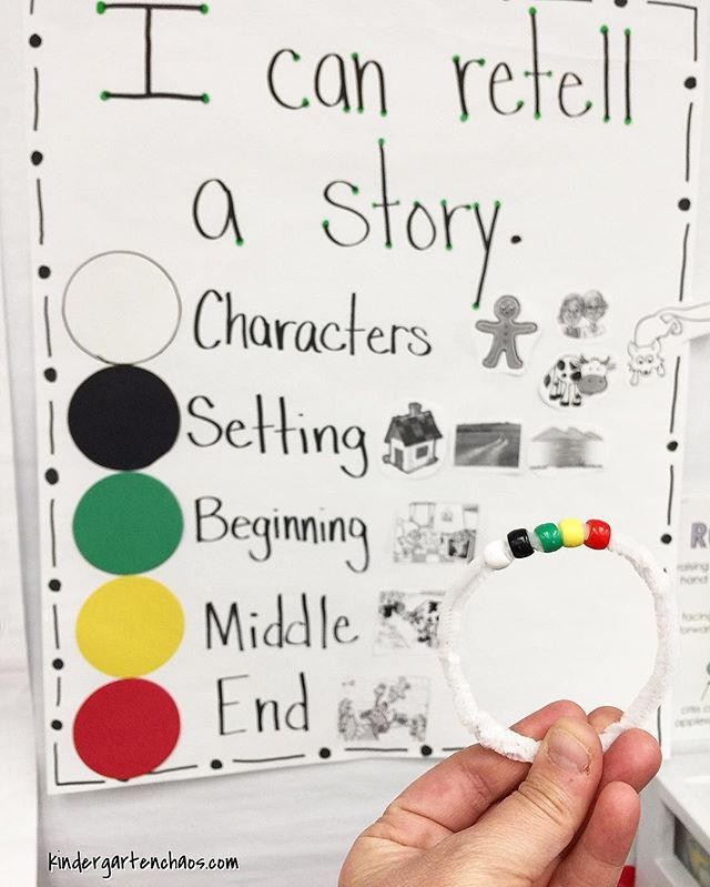 Retelling bracelets are a game changer! What do you use to aid in retelling stories? #kindergartenchaos #kindergarten #iteachtoo