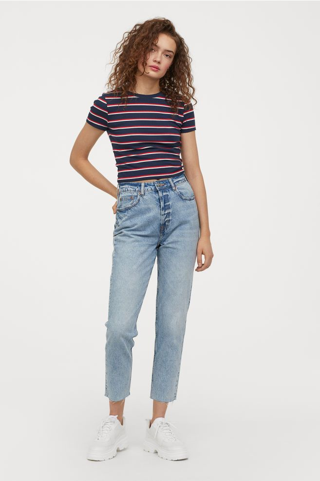 Slim Mom High Ankle Jeans Light Denim Blue Ladies H M Ca Mom Jeans Ripped Jeggings Slim Mom Jeans