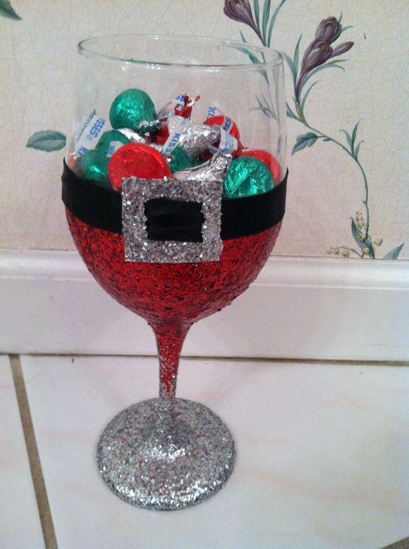 santa glitter wine glass - Glass Decorations