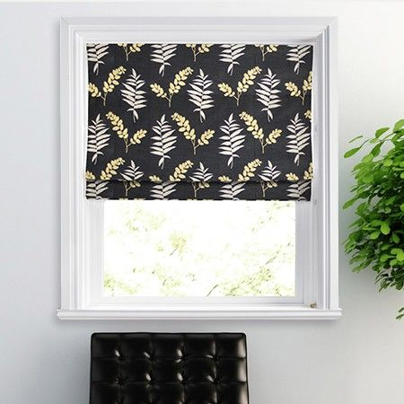 This classic leaf design with a black background really makes our Fern Roman Blind pop with style.  #interiors #black #home decor #blinds #247