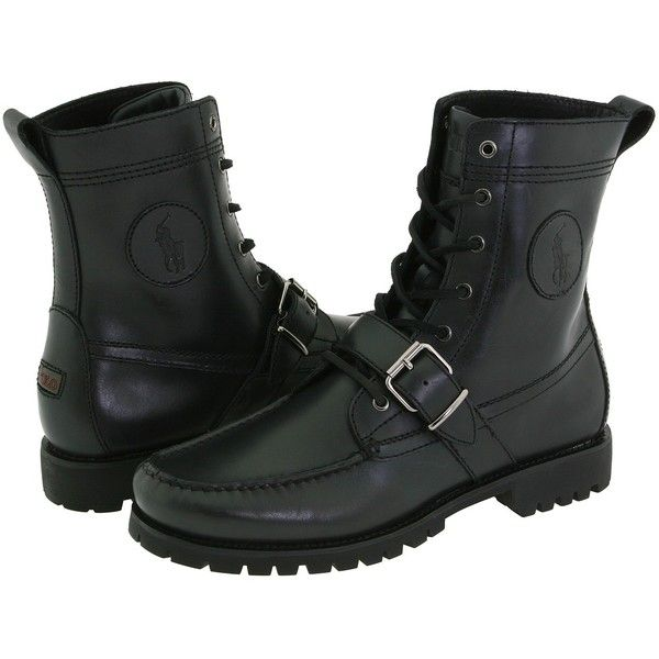 Polo Ralph Lauren Ranger (Black Leather) Men's Lace-up Boots ($559) ❤ liked on Polyvore featuring men's fashion, men's shoes, men's boots, men's work boots, mens black lace up boots, mens black boots, mens black work boots, mens leather boots and mens black leather boots