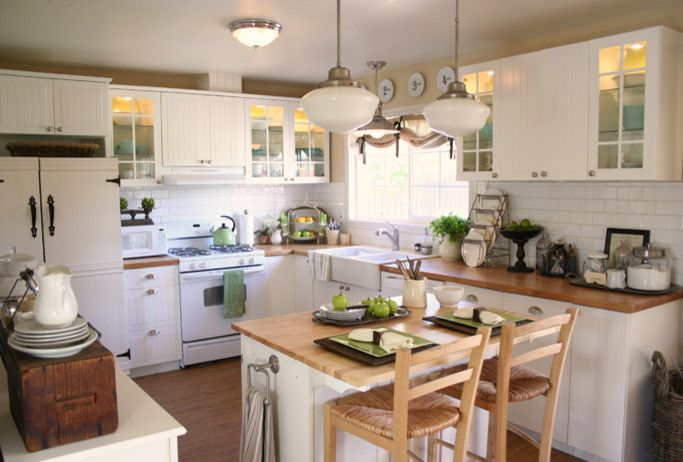 white wooden kitchen island with towel rack on the side, brown wooden top, brown wooden stools with backs and rattan seating of Small and Pretty Kitchen Island Difficult to Miss