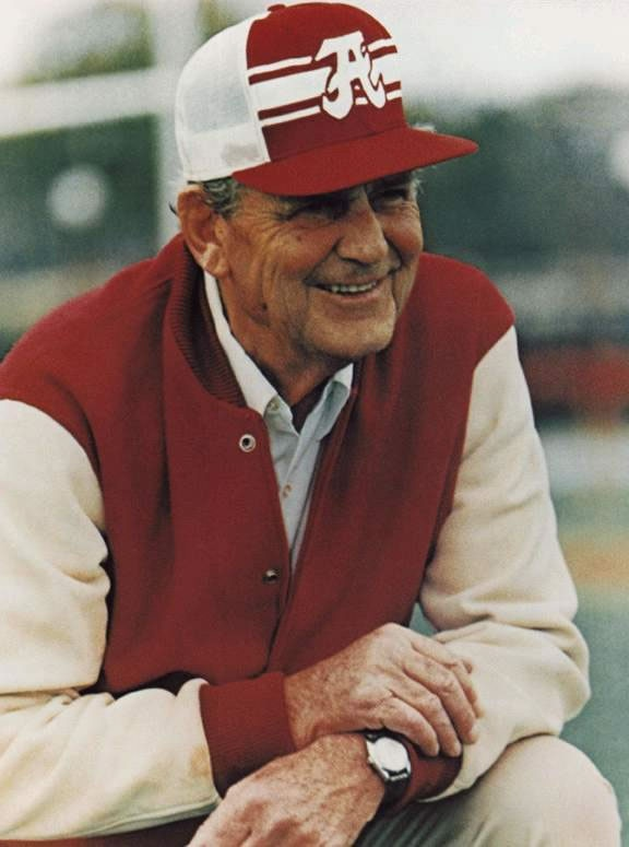 """Coach Paul """"Bear"""" Bryant - coached for University of Alabama from 1958 to his retirement in 1982, during this time he won six national titles (1961, 1964, 1965, 1973, 1978, and 1979) and thirteen SEC championships. He died in 1983."""