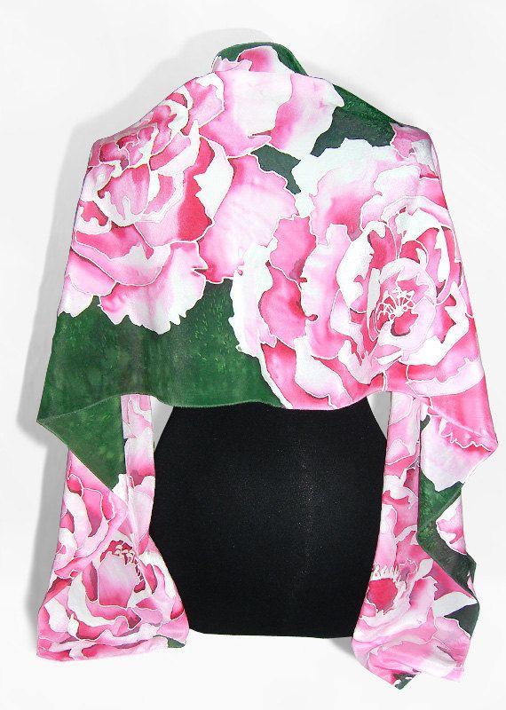 Hand painted silk scarf PEONIA long silk scarves - China silk crepe - pink flowers green #followprettypearlsinc AKA 1908