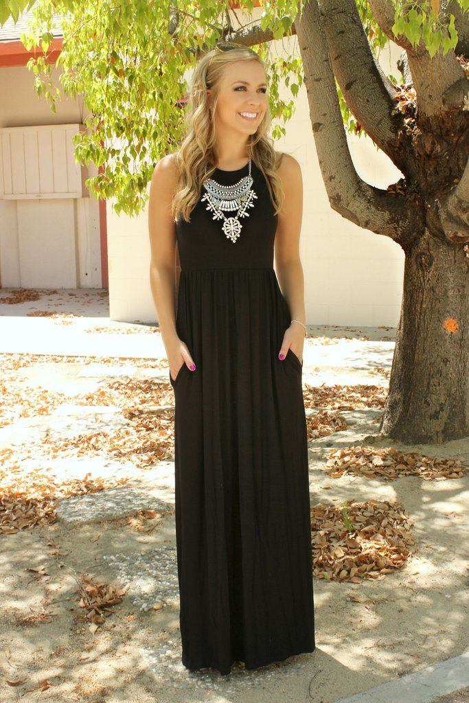 We are convinced that this is the PERFECT little black maxi dress of all time! Soft, jersey-knit fabric with a fitted chest and a loose skirting. Best of all, this little baby has pockets! Casual race