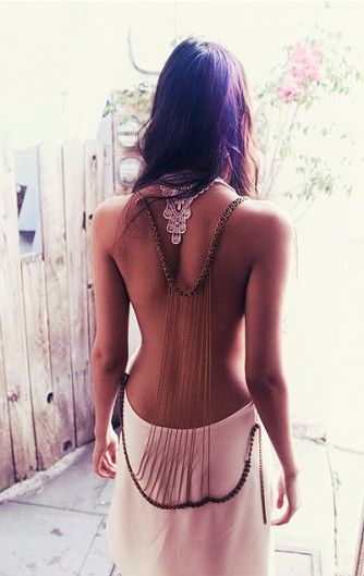 love the back of this dressFashion, Backless Dresses, Beautiful, Maxis Dresses, The Dresses, Bohemian Style, Body Chains, Open Back, Back Details
