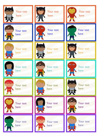 Editable Superhero Stickers...A set of editable superhero themed stickers, ideal to use as rewards for children who achieve certain goals.
