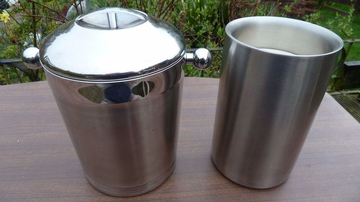 ART DECO STYLE VINTAGE ICE BUCKET WITH TONGS AND WINE COOLER - COPCO USA