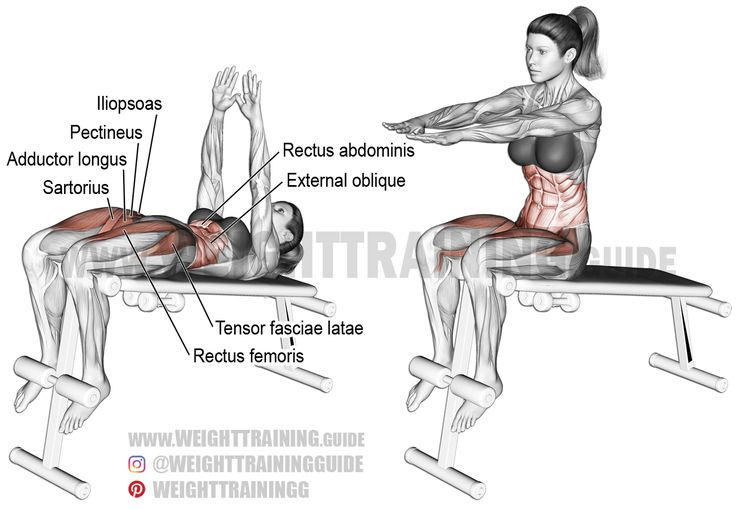 Decline sit-up. A compound exercise. Target muscle: Rectus Abdominis. Synergists: Obliques, Iliopsoas, Tensor Fasciae Latae, Rectus Femoris, Pectineus, Sartorius, Adductor Longus, and Adductor Brevis.