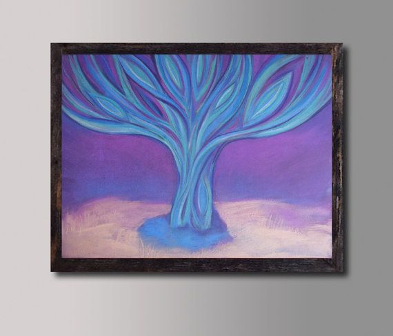 Tree Painting Purple Blue Lilac Abstract Landscape Wall decor Contemporary Art Canvas Print, Blue Purple Living Room Wall Decor Tree Peacock