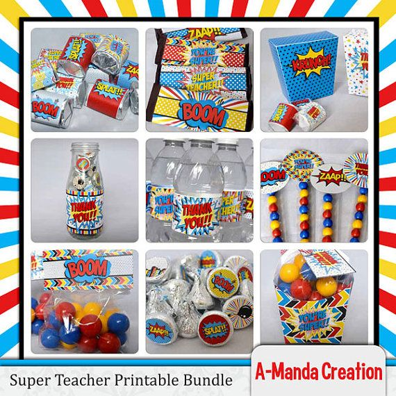 Super Teacher Super Hero Teacher Appreciation Printable Bundle, includes 17 different printables for gift giving and dressing up a teacher appreciation lunch.