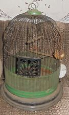 Wavy Top Antique  Bird Cage And Porcelain Accessories Vintage