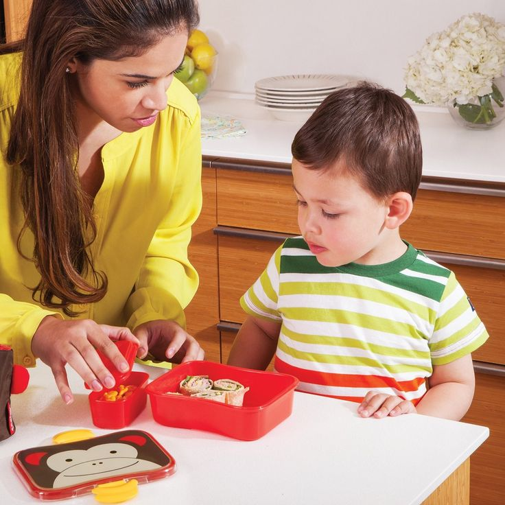 "Skip Hop Lunch Kit  Your little one will love this colorful case, great for toting lunch to school or a snack to the park. This ""big kid"" kit encourages independent eating, and makes everyday meals fun. Coordinating clips make it a snap for your toddler to open and close it themselves, while the rubber seal locks the lid in place to prevent leaks."