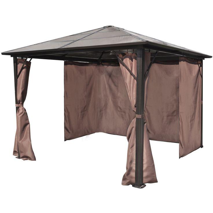 10 x 10 Hardtop Gazebo Metal Aluminum Outdoor Curtains For Patio Furniture Sets | eBay