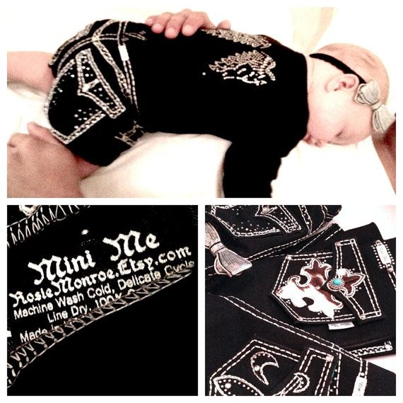 """How flipping cute! Instead of """"Miss Me"""" jeans for adults, it's """"Mini Me"""" jeans for babies<3<3"""