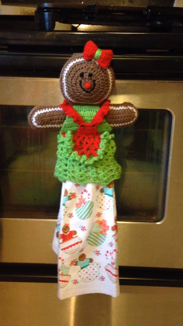 Gingerbread crochet towel topper