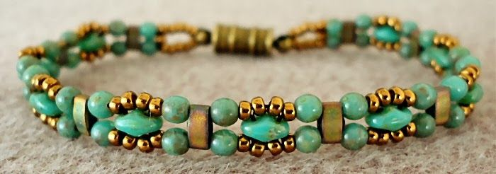 Linda's Crafty Inspirations: Bracelet of the Day: Trestle Bands - Turquoiseeasy to see the pattern
