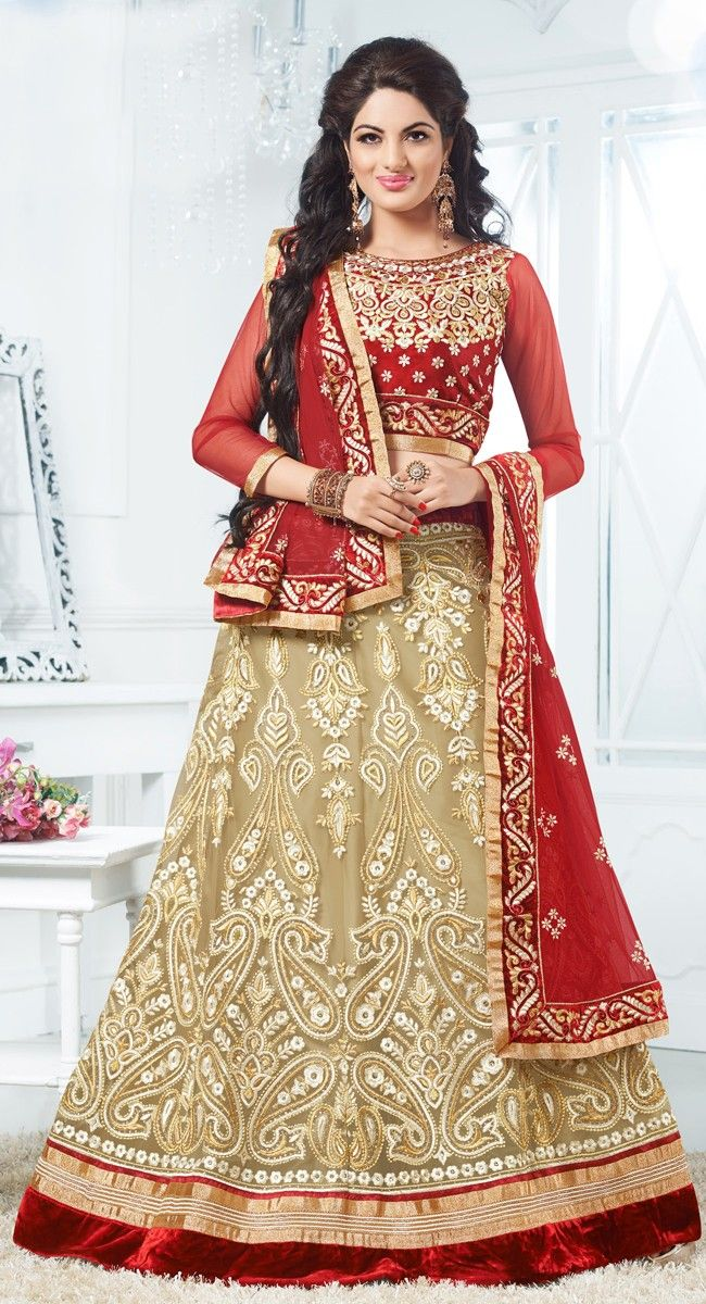 Beige color Wedding #Lehnga #Choli-Net Lehenga Choli