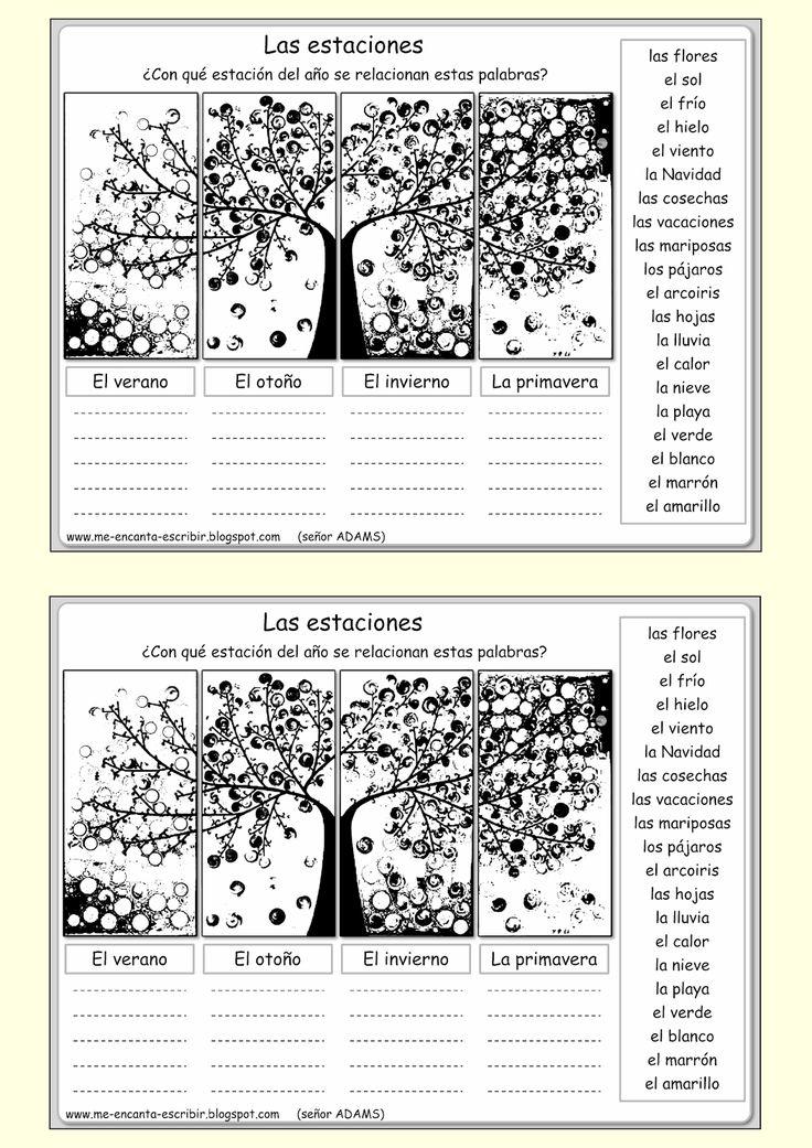 Me encanta escribir en español: ¿Qué palabras evocan las estaciones del año? (ejercicio)