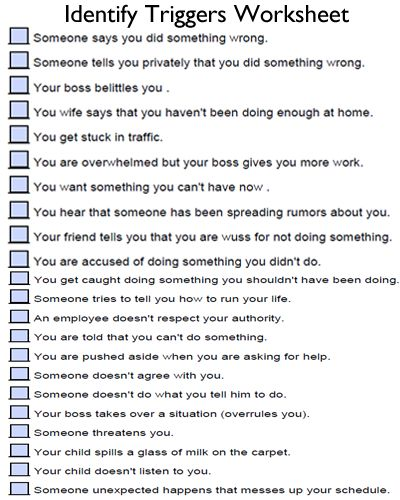 Identify your triggers. Write them down, then identify your personal coping skills or make a coping tool box.