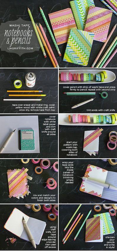 Cómo decorar lápices y cuadernos con washi tape