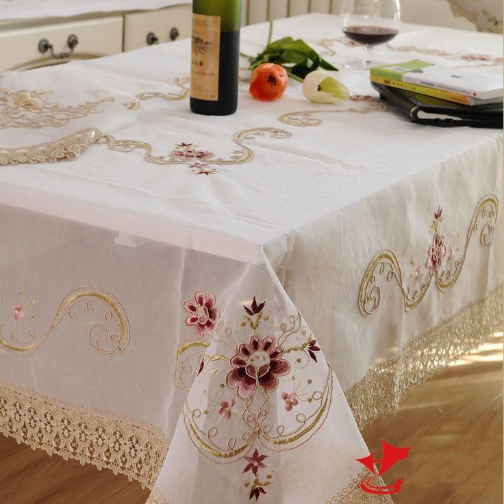 Kingart Hand Wit Kant Tafelkleed Rechthoek Borduren tafelkleed Set Bloem Tafelkleed Voor Bruiloft(China (Mainland))