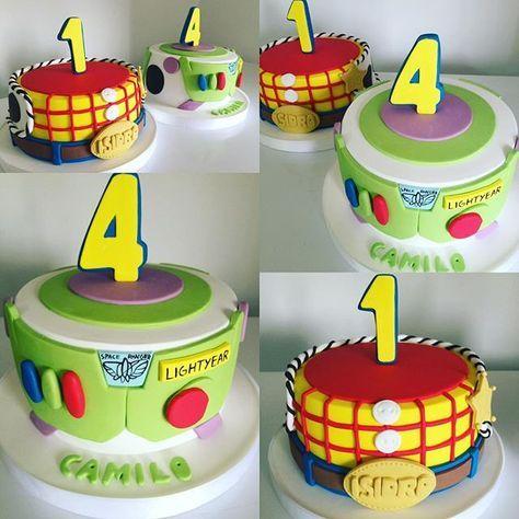 WOODY Y BUZZ, dos tortas de TOY STORY para Isidro y Camilo, dos hermanitos que nacieron el mismo día!!! ❤️ #mix #cakedesign #cakes #toystory #woody #buzzlightyear #woodycake #buzzcake #pixar #cumpleaños #birthdaycake #tortas