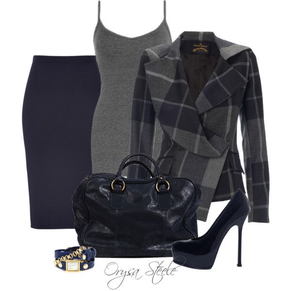 Vivienne Westwood Grey Blue Chevalier Jacket, Jil Sander Navy Wool Knit Pencil Skirt, YSL Tribtoo Pump, Navy Zamos & Siega Mansfield, Gold Egyptian Chain Wrap Watch  ~  Via Work Fashion Outfits | Navy Check | Fashionista Trends