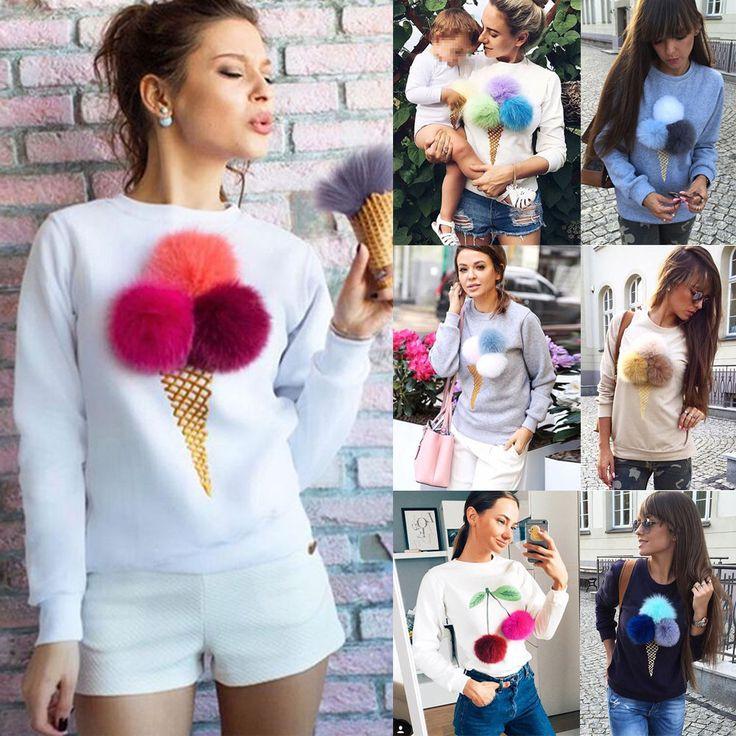 Damen Langarm Fleece Pullover Hoodie Sweatshirt Jumper Sweater Shirt Tunika Tops