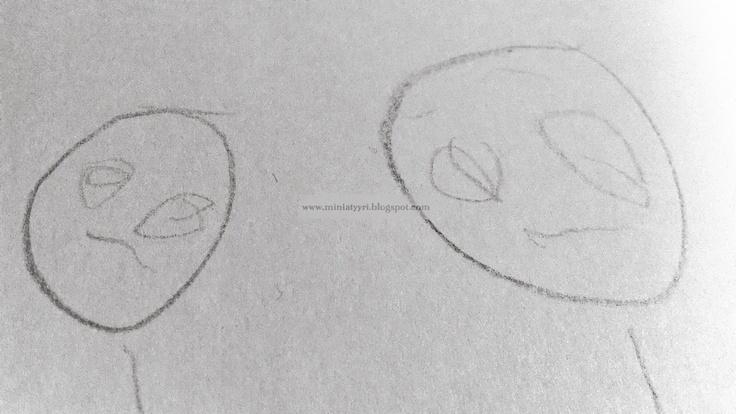 Self-portrait with ma - drawing by a 3-year-old child; Omakuva äidin kanssa, 3-vuotiaan lapsen piirros