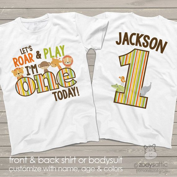 971d7380 zoo / jungle theme First 1st birthday shirt - let's roar and play i'm one  today lion tiger giraffe elephant alligator shirt MBD-024 in 2019 | Baby |  1st ...
