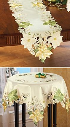 Embroidered Cream And Gold Poinsettia Table  Linens Runner