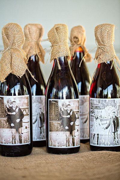 Burlap & Personalized Wine Labels   #WeddingFavors   Fia Forever Photography