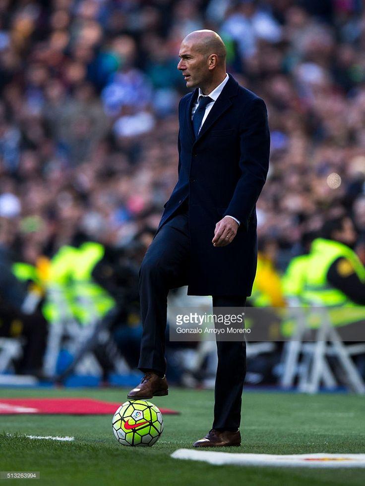 Head coach Zinedine Zidane of Real Madrid CF controls the ball during the La Liga match between Real Madrid CF and Club Atletico de Madrid at Estadio Santiago Bernabeu on February 27, 2016 in Madrid, Spain.