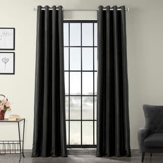 Exclusive Fabrics Grommet Blackout Faux Silk Taffeta 84-inch Curtain (Antique beige – 50 X 84)(Nylon, Solid)