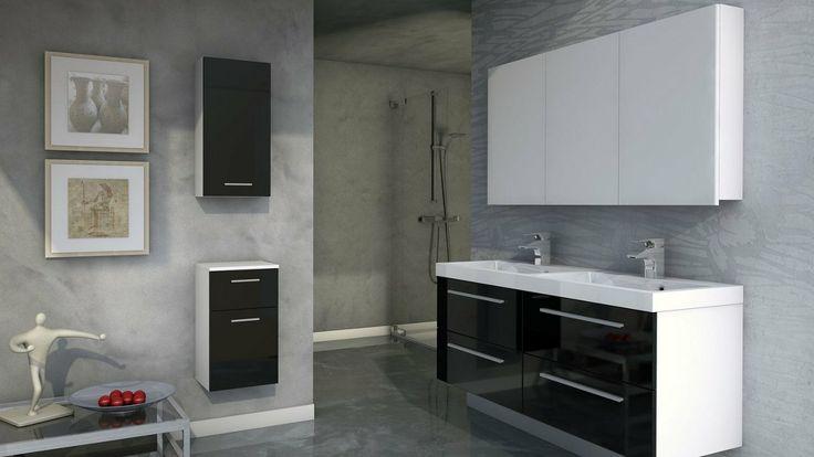Nowoczesna łazienka uzupełniona modernistycznymi szafkami łazienkowymi.