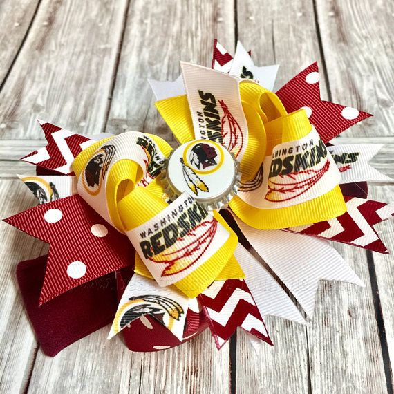 #Washington Redskins Hair Bow or Headband  This beautiful bow comes attached to your choice of alligator clip, French barrette, or as a bow and headband set as shown.   -Bow... #handmade #etsy #boutiqueshopping #babygirl #hairbows #sale #washington ➡️ http://jto.li/W5MBR