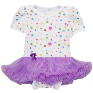 c5b6b857728 from Sophia s Style · Wenchoice Baby Girls White Purple Polka Dots Tutu  Short Sleeve Bodysuit 9-24M